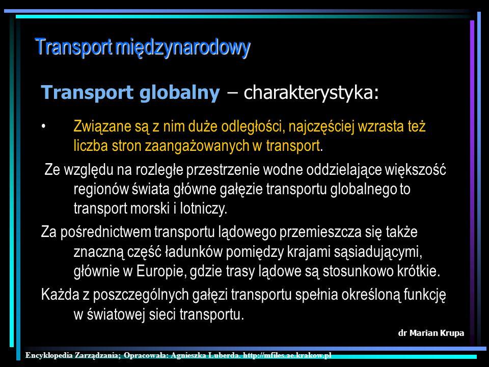 Transport międzynarodowy dr Marian Krupa Transport globalny Encyklopedia Zarządzania; Opracowała: Agnieszka Luberda.