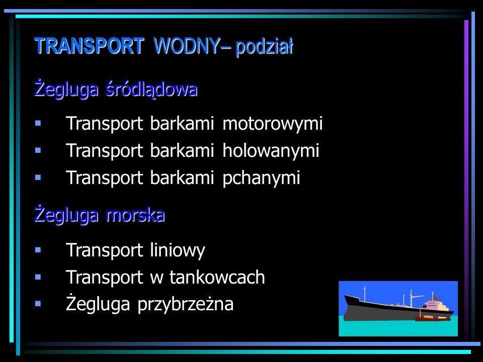 TRANSPORT WODNY– podział Żegluga śródlądowa Transport barkami motorowymi Transport barkami holowanymi Transport barkami pchanymi Żegluga morska Transport liniowy Transport w tankowcach Żegluga przybrzeżna