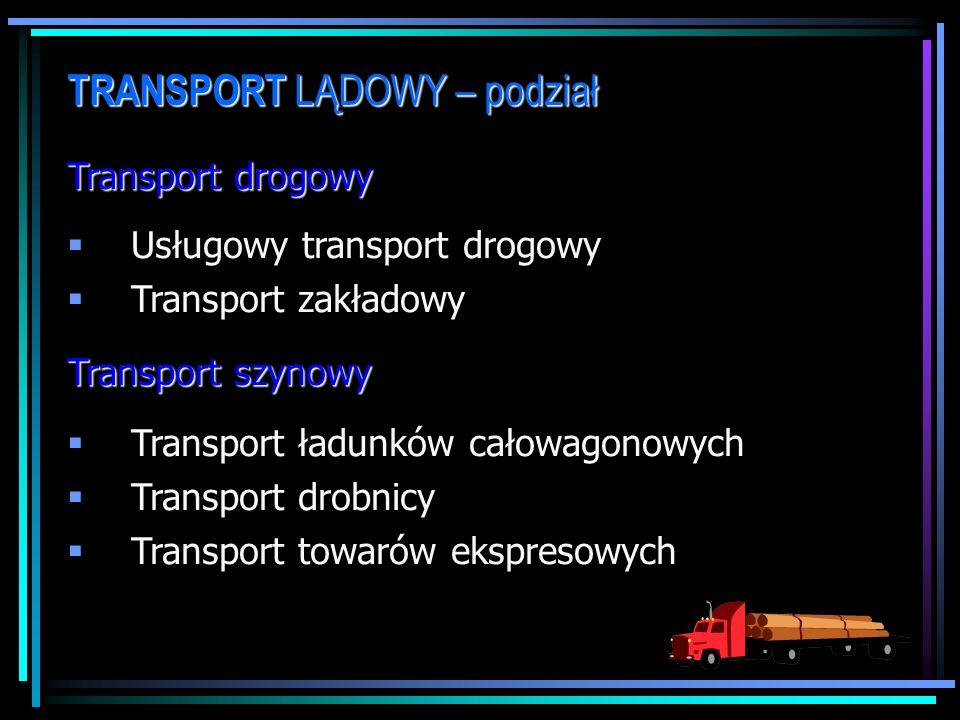 TRANSPORT LĄDOWY – podział Transport drogowy Usługowy transport drogowy Transport zakładowy Transport szynowy Transport ładunków całowagonowych Transport drobnicy Transport towarów ekspresowych