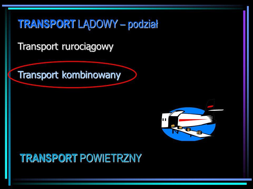 TRANSPORT LĄDOWY – podział Transport rurociągowy Transport kombinowany TRANSPORT POWIETRZNY