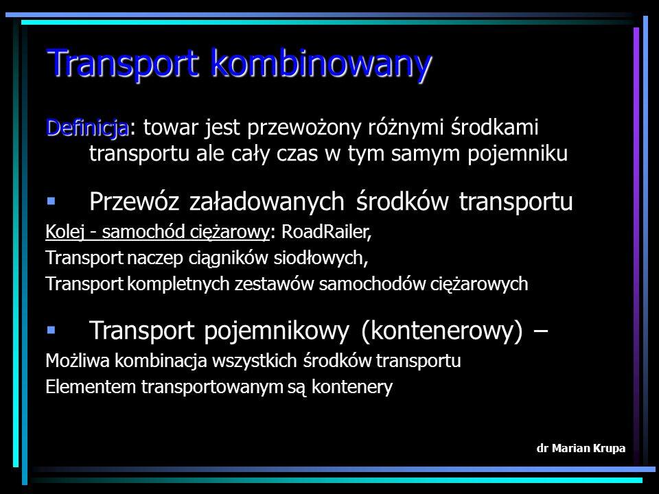 Transport kombinowany dr Marian Krupa Definicja Definicja: towar jest przewożony różnymi środkami transportu ale cały czas w tym samym pojemniku Przewóz załadowanych środków transportu Kolej - samochód ciężarowy: RoadRailer, Transport naczep ciągników siodłowych, Transport kompletnych zestawów samochodów ciężarowych Transport pojemnikowy (kontenerowy) – Możliwa kombinacja wszystkich środków transportu Elementem transportowanym są kontenery