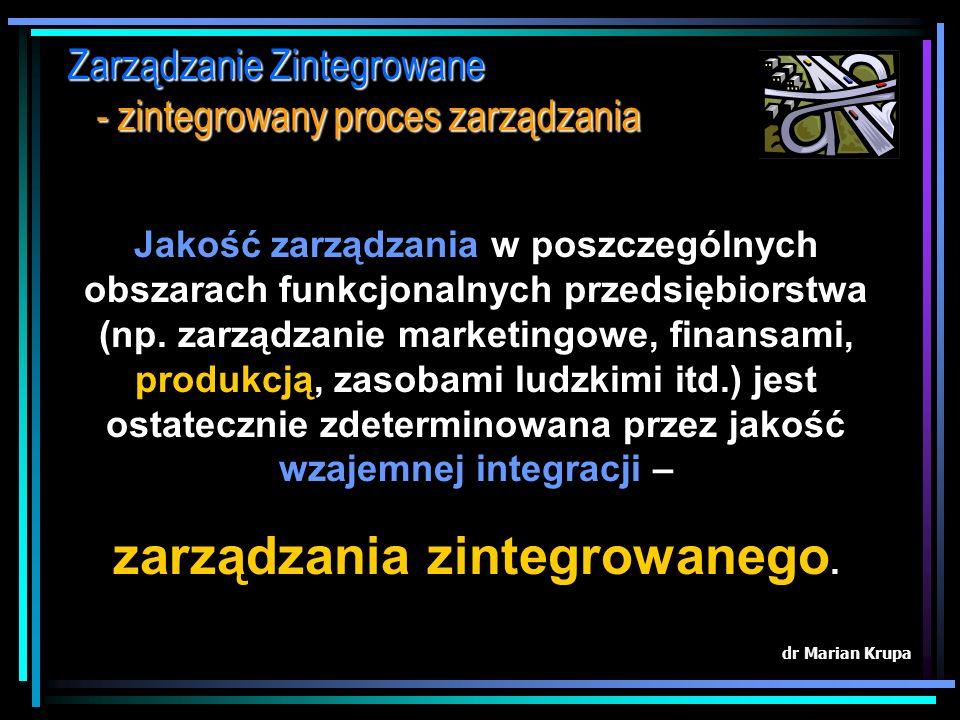 Zarządzanie Zintegrowane - zintegrowany proces zarządzania dr Marian Krupa...procesy percepcji ulegają instytucjonalizacji, ponieważ wymagania organiz