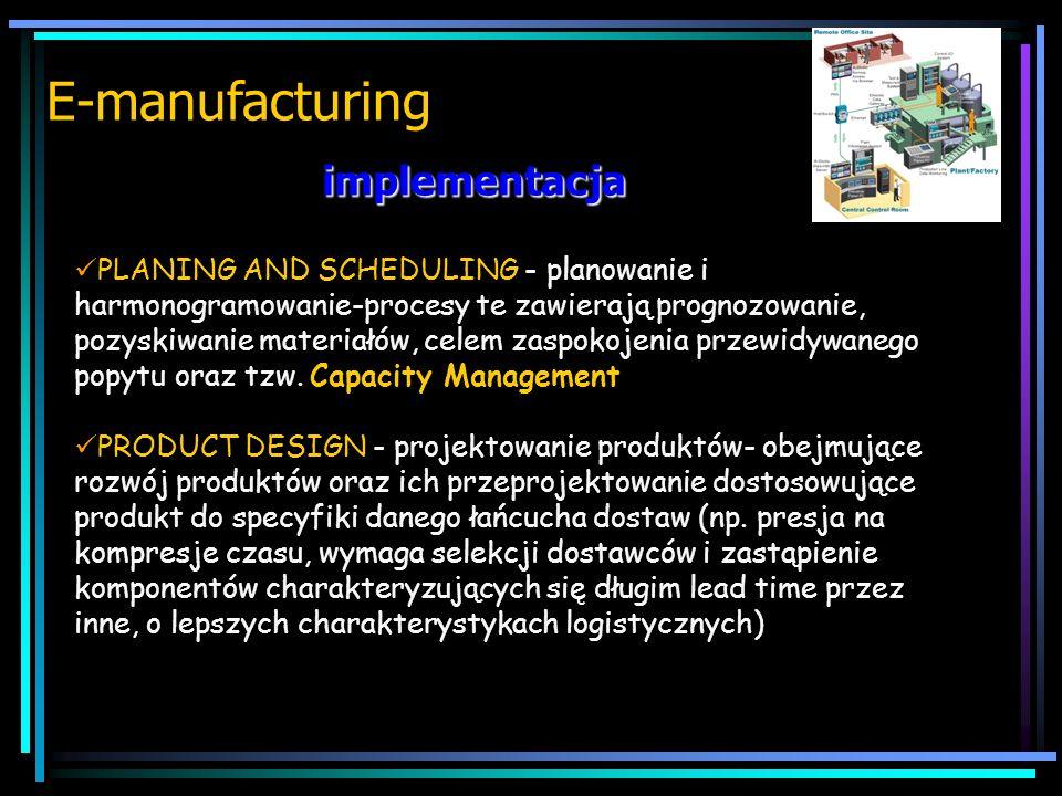 założenia E-manufacturing STRATEGIA E-MANUFACTURING polega na jednoczesnym obniżaniu stanu posiadania zapasów (JiT) i podwyższaniu poziomu obsługi kli