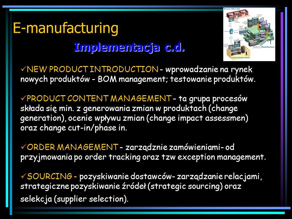 implementacja E-manufacturing PLANING AND SCHEDULING - planowanie i harmonogramowanie-procesy te zawierają prognozowanie, pozyskiwanie materiałów, cel