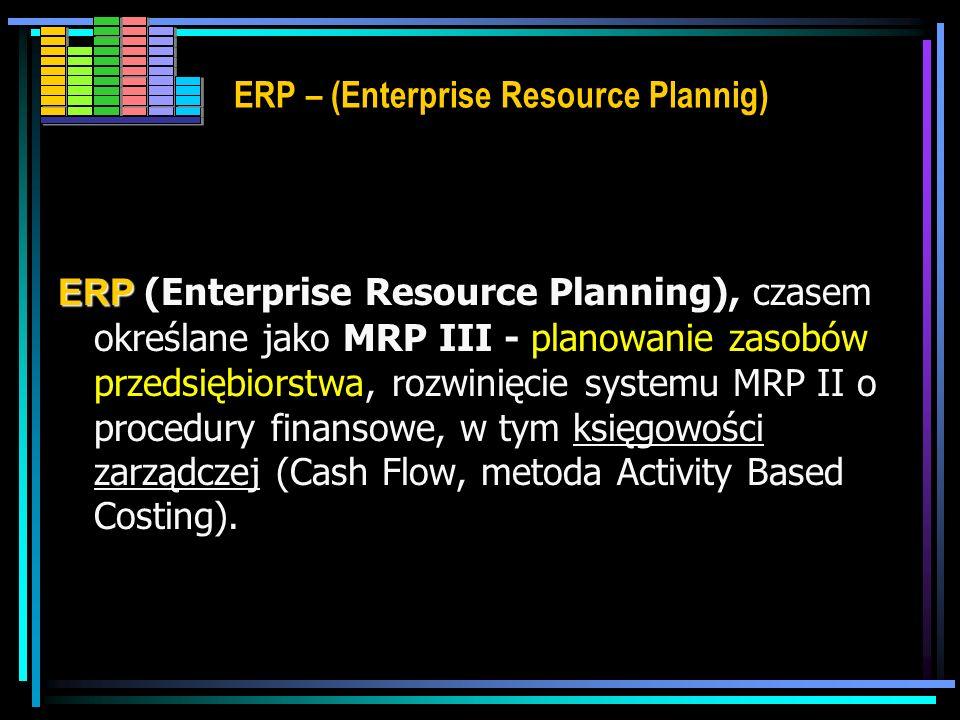 ERP – (Enterprise Resource Plannig) Celem systemów klasy ERP jest integrowanie w możliwie najszerszym zakresie (wewnętrznie i zewnętrznie) wszystkich