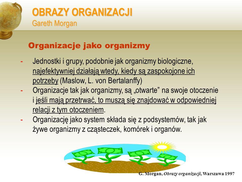 OBRAZY ORGANIZACJI Gareth Morgan -Jednostki i grupy, podobnie jak organizmy biologiczne, najefektywniej działają wtedy, kiedy są zaspokojone ich potrz