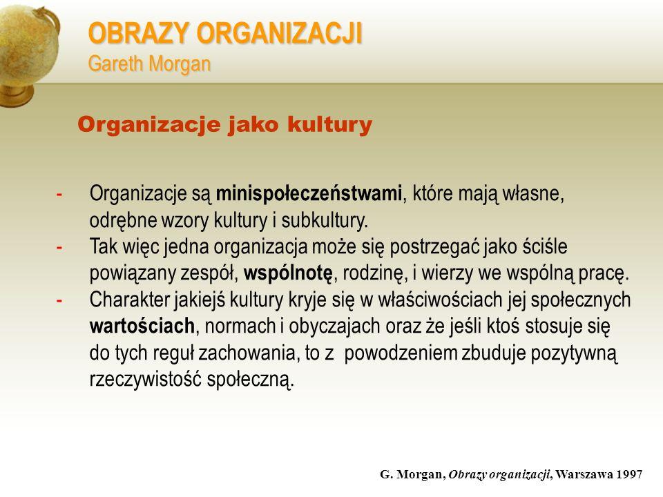 OBRAZY ORGANIZACJI Gareth Morgan -Organizacje są minispołeczeństwami, które mają własne, odrębne wzory kultury i subkultury. -Tak więc jedna organizac