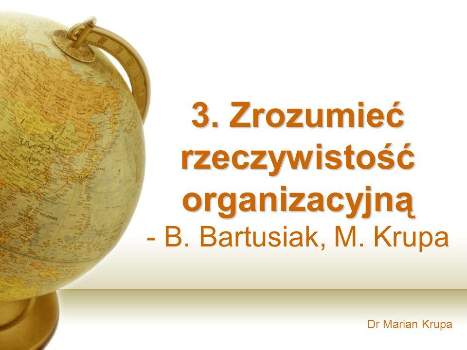 Dr Marian Krupa 3. Zrozumieć rzeczywistość organizacyjną - B. Bartusiak, M. Krupa