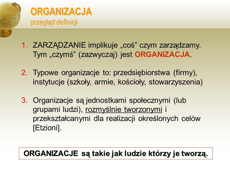 ORGANIZACJA przegląd definicji 1.ZARZĄDZANIE implikuje coś czym zarządzamy. Tym czymś (zazwyczaj) jest ORGANIZACJA. 2.Typowe organizacje to: przedsięb