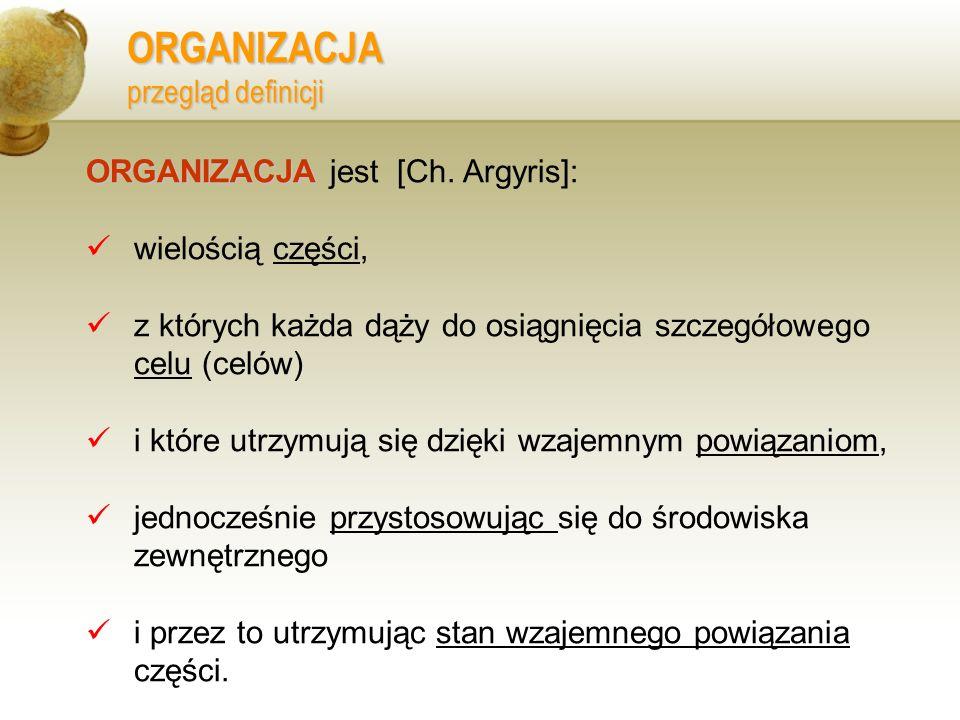 ORGANIZACJA przegląd definicji ORGANIZACJA ORGANIZACJA jest [Ch. Argyris]: wielością części, z których każda dąży do osiągnięcia szczegółowego celu (c