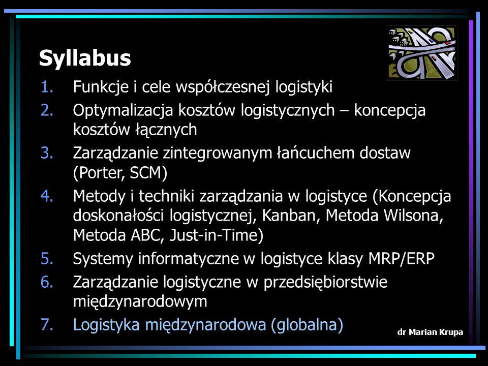 Syllabus 1.Funkcje i cele współczesnej logistyki 2.Optymalizacja kosztów logistycznych – koncepcja kosztów łącznych 3.Zarządzanie zintegrowanym łańcuchem dostaw (Porter, SCM) 4.Metody i techniki zarządzania w logistyce (Koncepcja doskonałości logistycznej, Kanban, Metoda Wilsona, Metoda ABC, Just-in-Time) 5.Systemy informatyczne w logistyce klasy MRP/ERP 6.Zarządzanie logistyczne w przedsiębiorstwie międzynarodowym 7.Logistyka międzynarodowa (globalna) dr Marian Krupa