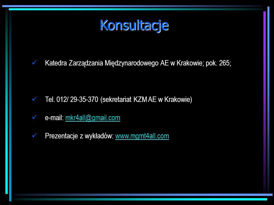 Konsultacje Katedra Zarządzania Międzynarodowego AE w Krakowie; pok.