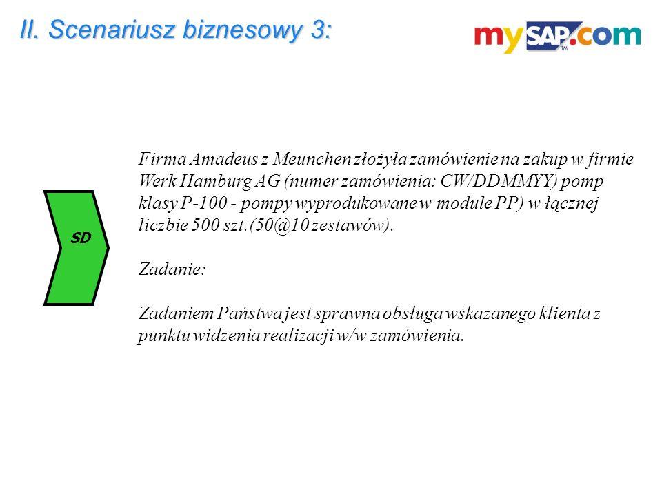 II. Scenariusz biznesowy 3: Firma Amadeus z Meunchen złożyła zamówienie na zakup w firmie Werk Hamburg AG (numer zamówienia: CW/DDMMYY) pomp klasy P-1