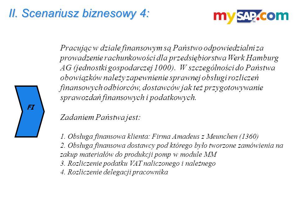 II. Scenariusz biznesowy 4: Pracując w dziale finansowym są Państwo odpowiedzialni za prowadzenie rachunkowości dla przedsiębiorstwa Werk Hamburg AG (