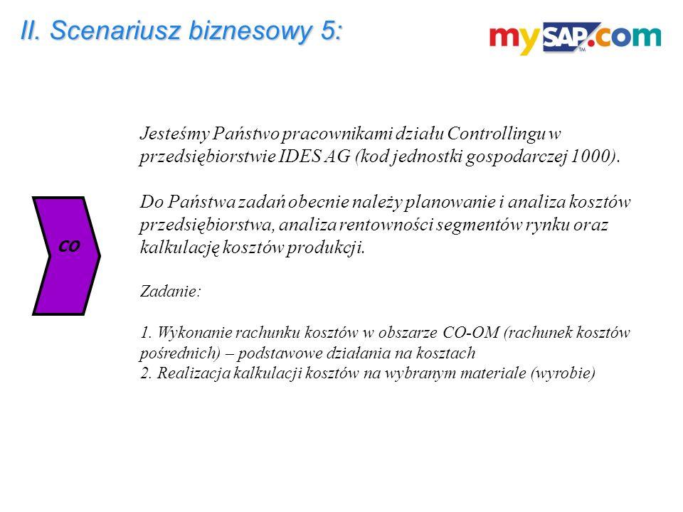 II. Scenariusz biznesowy 5: Jesteśmy Państwo pracownikami działu Controllingu w przedsiębiorstwie IDES AG (kod jednostki gospodarczej 1000). Do Państw