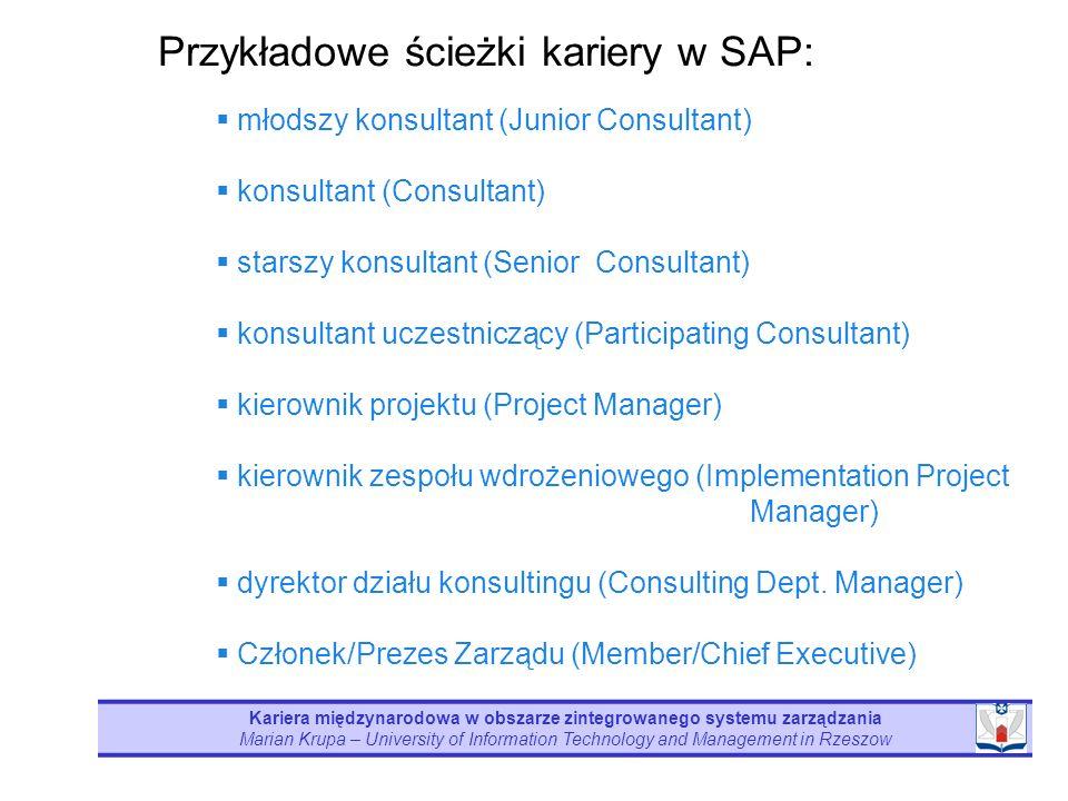 Kariera międzynarodowa w obszarze zintegrowanego systemu zarządzania Marian Krupa – University of Information Technology and Management in Rzeszow mło