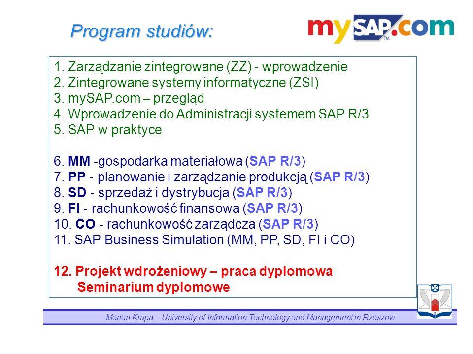 Koncepcja dydaktyczna Nałożenie perspektywy menedżerskiej (zarządzanie zintegrowane) z zintegrowaną perspektywą funkcjonalną (modułową) systemu SAP R/3 doprowadza do zrozumienia i zastosowania pełnej integracji systemowej w wymiarze platformy mySAP.com.