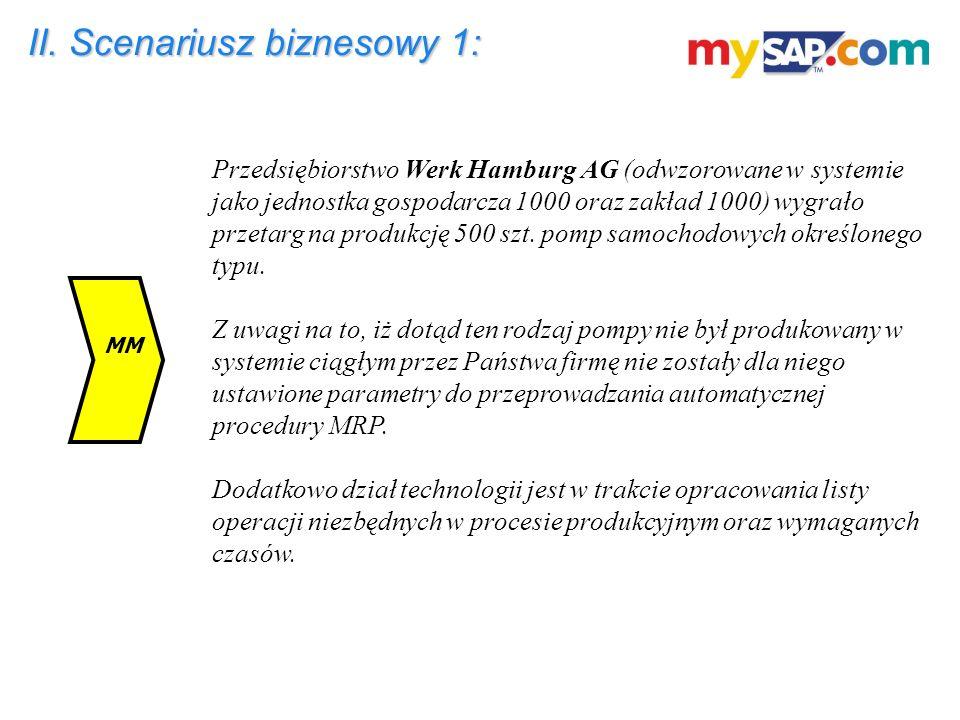 II. Scenariusz biznesowy 1: Przedsiębiorstwo Werk Hamburg AG (odwzorowane w systemie jako jednostka gospodarcza 1000 oraz zakład 1000) wygrało przetar