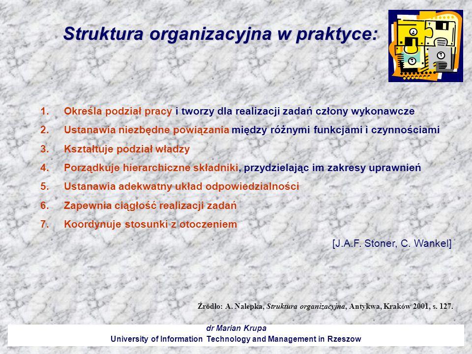 Struktura organizacyjna w praktyce: dr Marian Krupa University of Information Technology and Management in Rzeszow 1.Określa podział pracy i tworzy dl