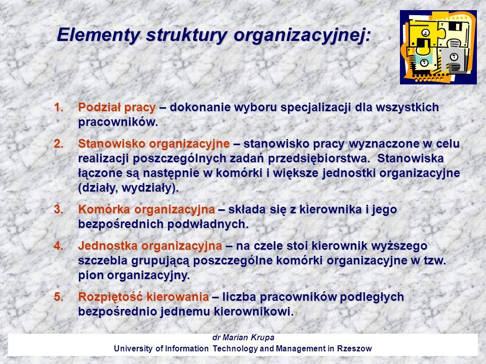 Elementy struktury organizacyjnej: dr Marian Krupa University of Information Technology and Management in Rzeszow 1.Podział pracy – dokonanie wyboru s