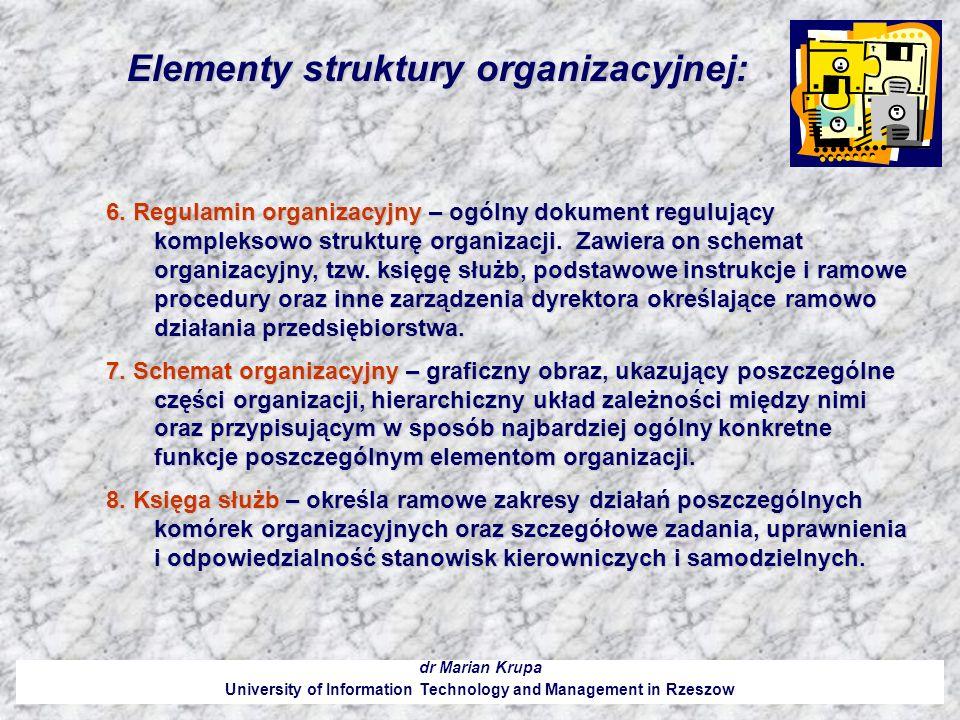 Elementy struktury organizacyjnej: dr Marian Krupa University of Information Technology and Management in Rzeszow 6. Regulamin organizacyjny – ogólny