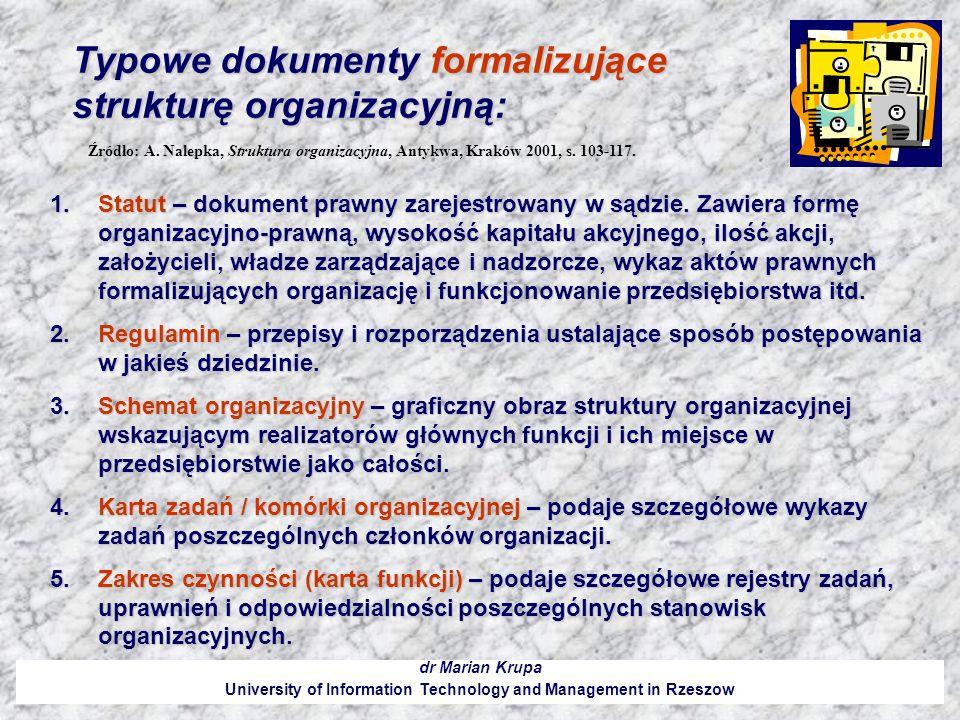 Typowe dokumenty formalizujące strukturę organizacyjną: dr Marian Krupa University of Information Technology and Management in Rzeszow 1.Statut – doku