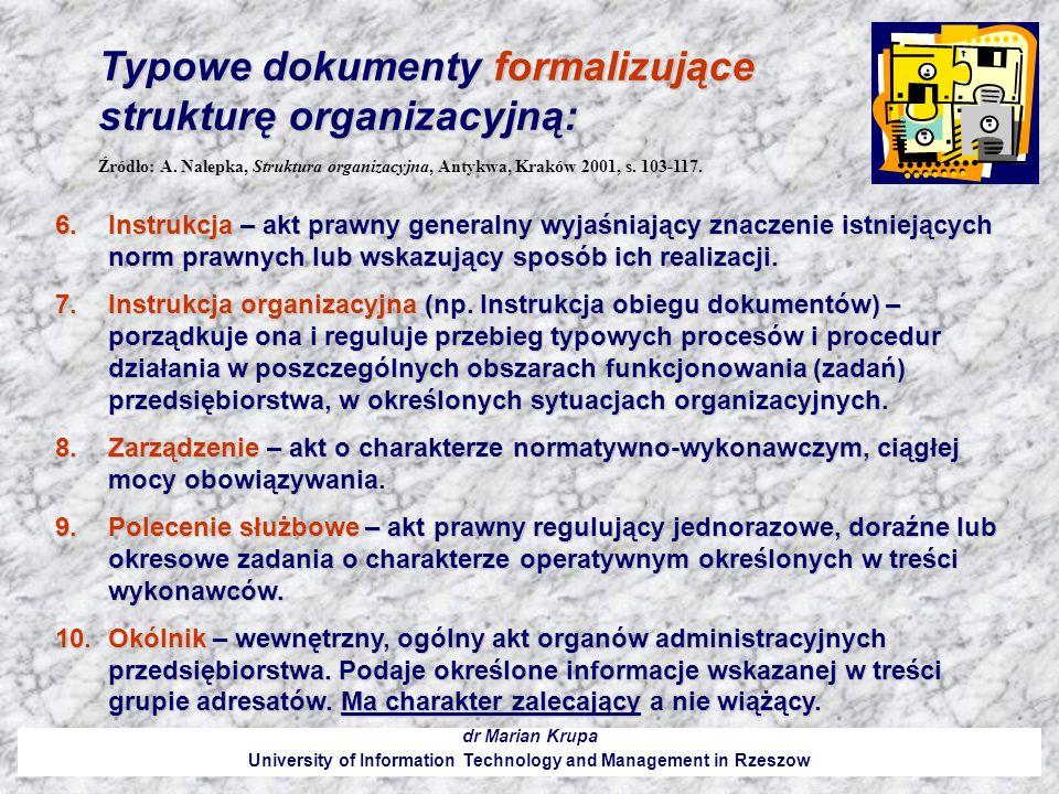 Typowe dokumenty formalizujące strukturę organizacyjną: dr Marian Krupa University of Information Technology and Management in Rzeszow 6.Instrukcja –