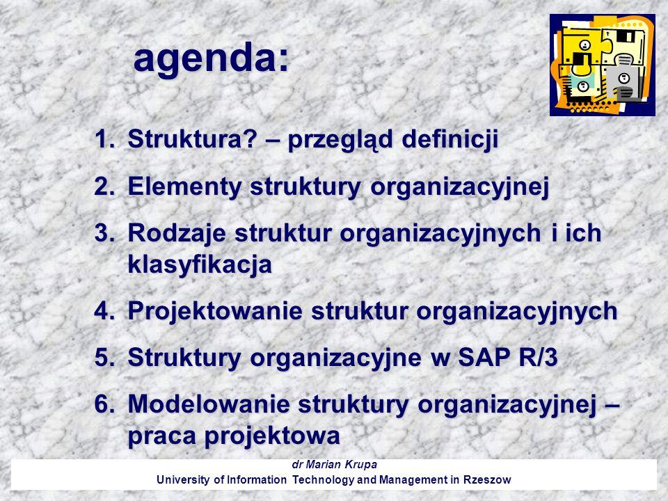 agenda: dr Marian Krupa University of Information Technology and Management in Rzeszow 1.Struktura? – przegląd definicji 2.Elementy struktury organiza