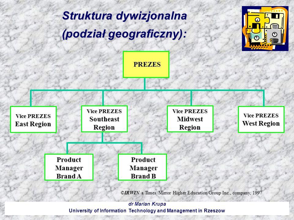 Struktura dywizjonalna (podział geograficzny): dr Marian Krupa University of Information Technology and Management in Rzeszow ©IRWIN a Times Mirror Hi