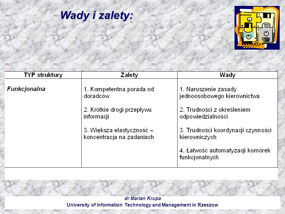 Wady i zalety: dr Marian Krupa University of Information Technology and Management in Rzeszow