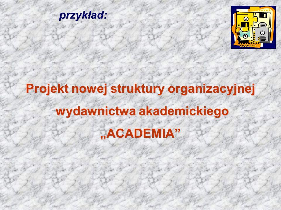 przykład: Projekt nowej struktury organizacyjnej wydawnictwa akademickiego wydawnictwa akademickiego ACADEMIA