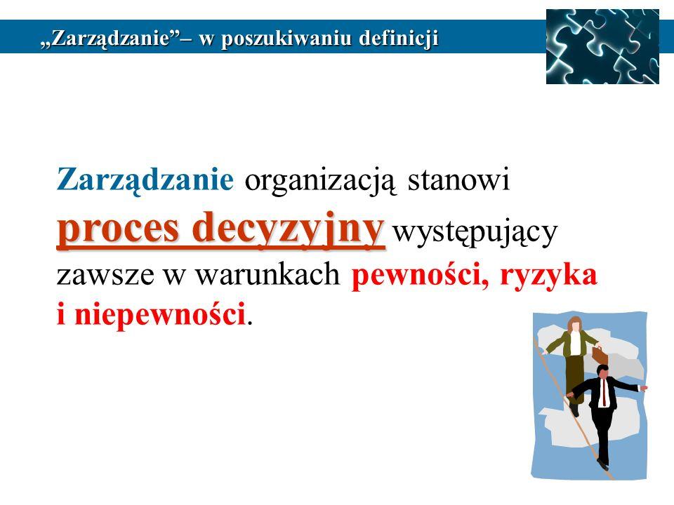 proces decyzyjny Zarządzanie organizacją stanowi proces decyzyjny występujący zawsze w warunkach pewności, ryzyka i niepewności.