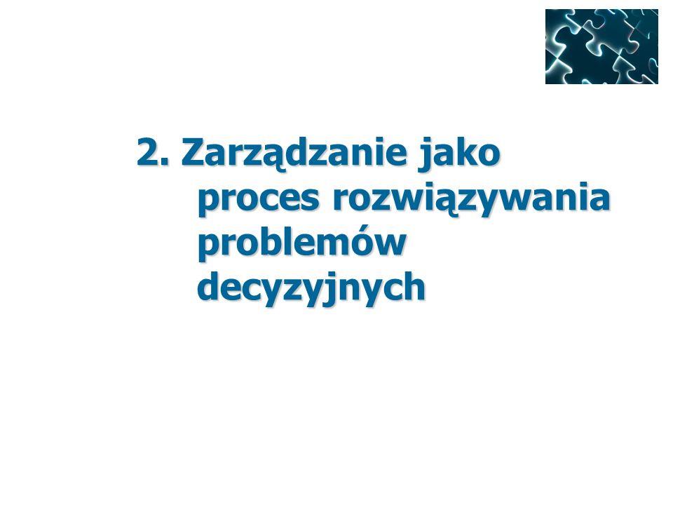2. Zarządzanie jako proces rozwiązywania problemów decyzyjnych