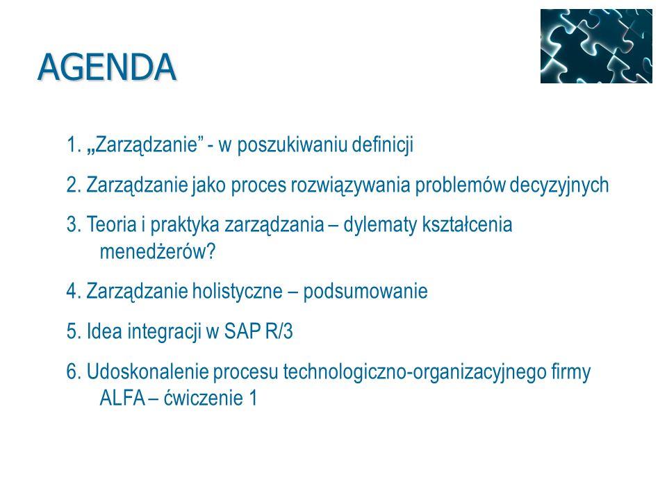 1. Zarządzanie - w poszukiwaniu definicji 2. Zarządzanie jako proces rozwiązywania problemów decyzyjnych 3. Teoria i praktyka zarządzania – dylematy k