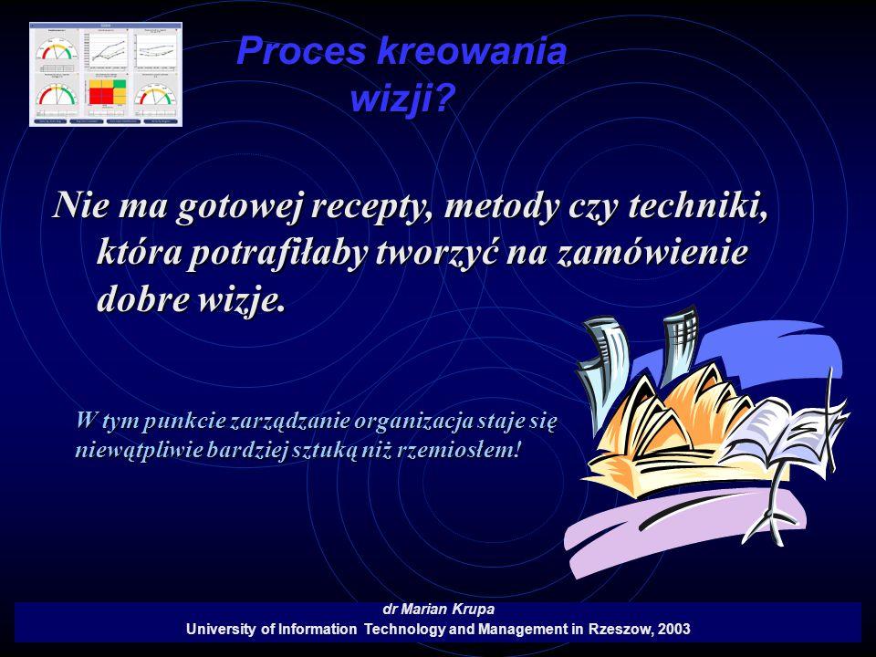 Proces kreowania wizji? dr Marian Krupa University of Information Technology and Management in Rzeszow, 2003 Nie ma gotowej recepty, metody czy techni