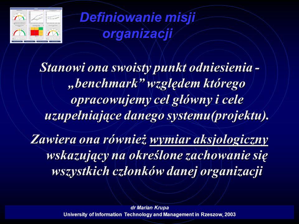 Definiowanie misji organizacji dr Marian Krupa University of Information Technology and Management in Rzeszow, 2003 Stanowi ona swoisty punkt odniesie