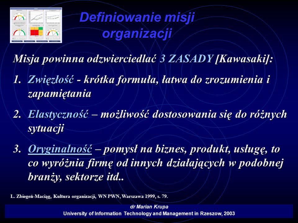 Definiowanie misji organizacji dr Marian Krupa University of Information Technology and Management in Rzeszow, 2003 Misja powinna odzwierciedlać 3 ZAS
