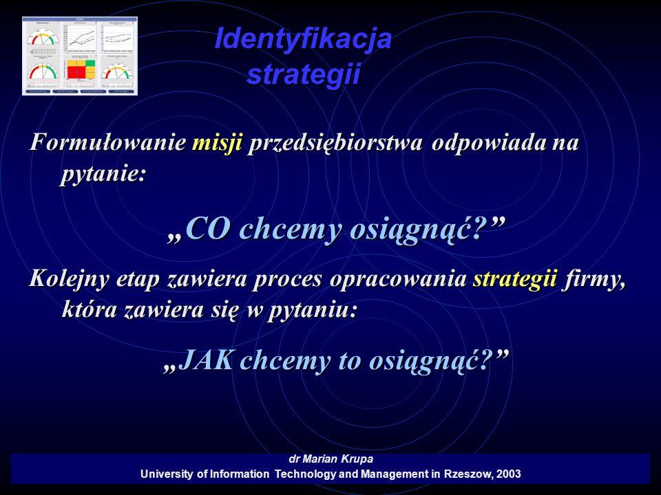 Identyfikacja strategii dr Marian Krupa University of Information Technology and Management in Rzeszow, 2003 Formułowanie misji przedsiębiorstwa odpow