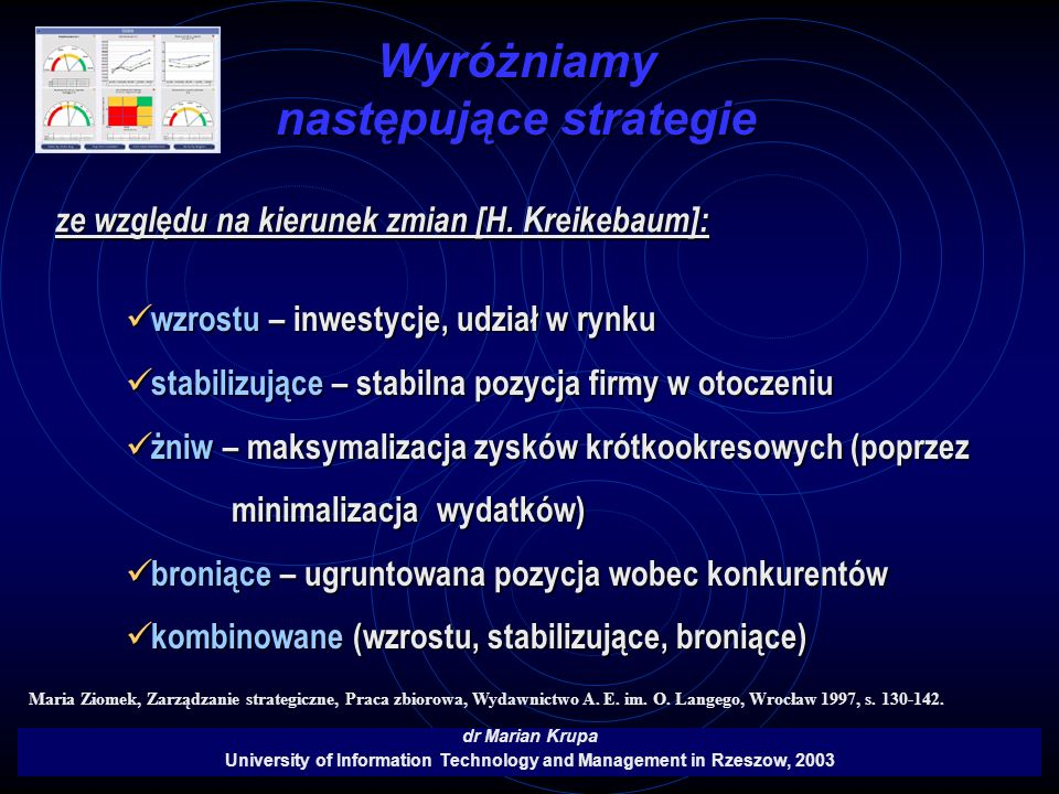 Wyróżniamy następujące strategie dr Marian Krupa University of Information Technology and Management in Rzeszow, 2003 ze względu na kierunek zmian [H.