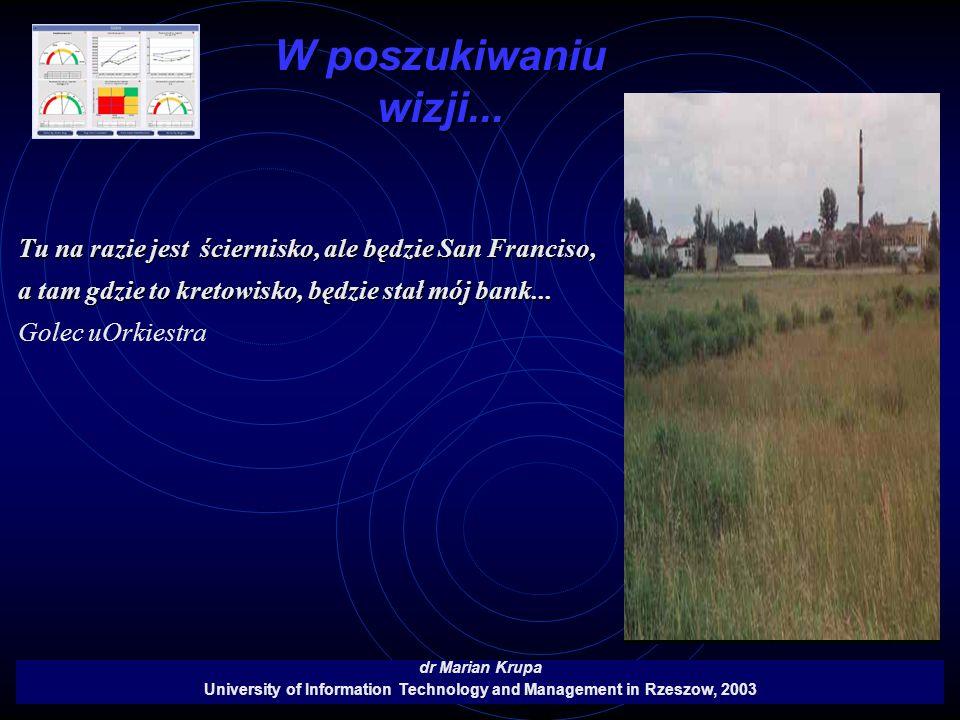 W poszukiwaniu wizji... dr Marian Krupa University of Information Technology and Management in Rzeszow, 2003 Tu na razie jest ściernisko, ale będzie S