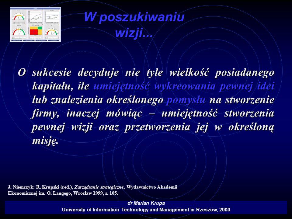 W poszukiwaniu wizji... dr Marian Krupa University of Information Technology and Management in Rzeszow, 2003 O sukcesie decyduje nie tyle wielkość pos