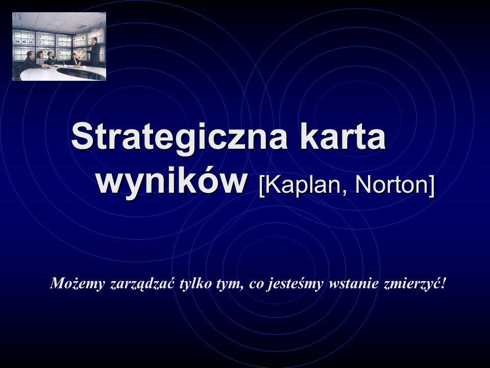 Strategiczna karta wyników [Kaplan, Norton] Możemy zarządzać tylko tym, co jesteśmy wstanie zmierzyć!