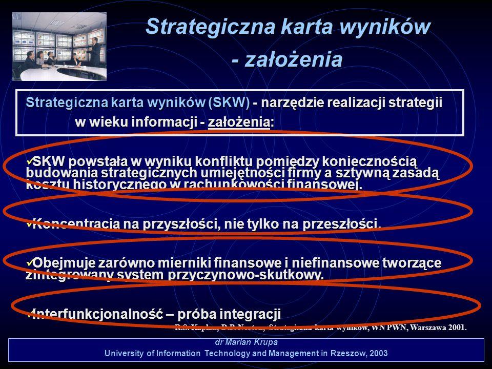 dr Marian Krupa University of Information Technology and Management in Rzeszow, 2003 Strategiczna karta wyników (SKW) - narzędzie realizacji strategii