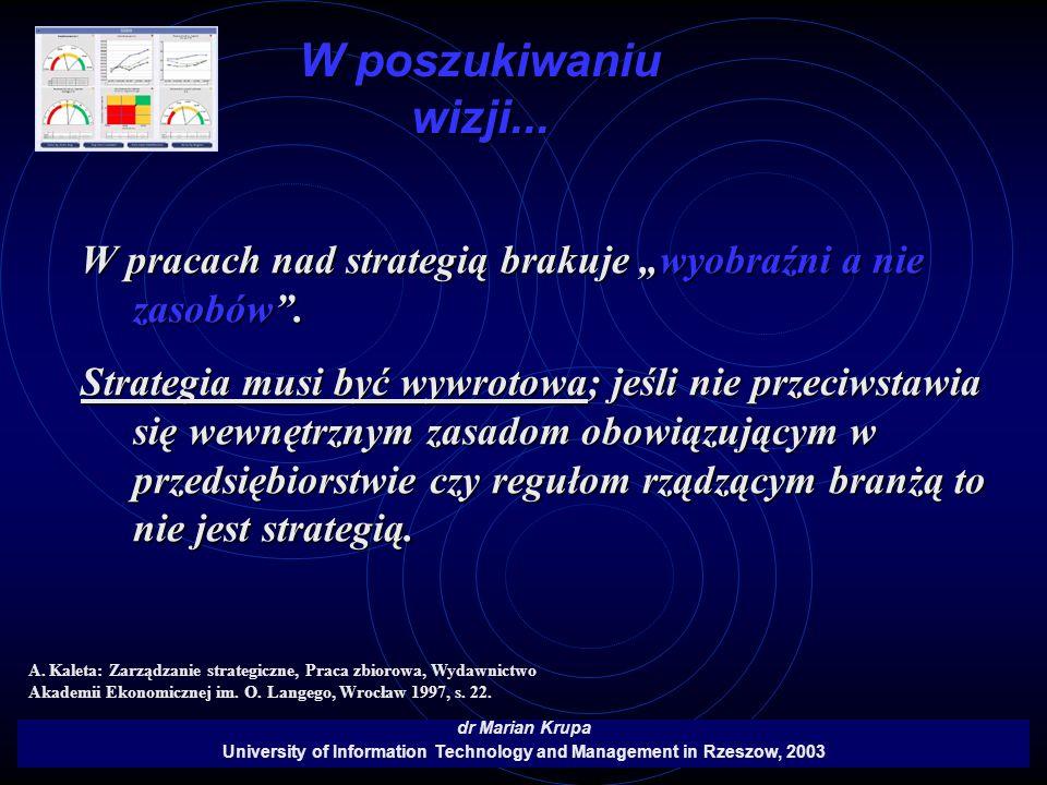W poszukiwaniu wizji... dr Marian Krupa University of Information Technology and Management in Rzeszow, 2003 W pracach nad strategią brakuje wyobraźni