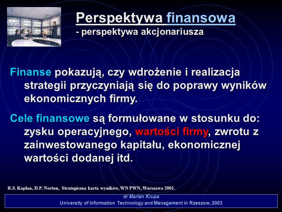 Perspektywa finansowa - perspektywa akcjonariusza dr Marian Krupa University of Information Technology and Management in Rzeszow, 2003 R.S. Kaplan, D.