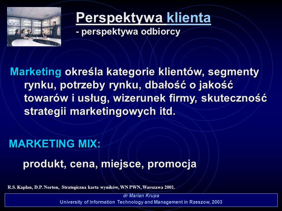 Perspektywa klienta - perspektywa odbiorcy dr Marian Krupa University of Information Technology and Management in Rzeszow, 2003 R.S. Kaplan, D.P. Nort