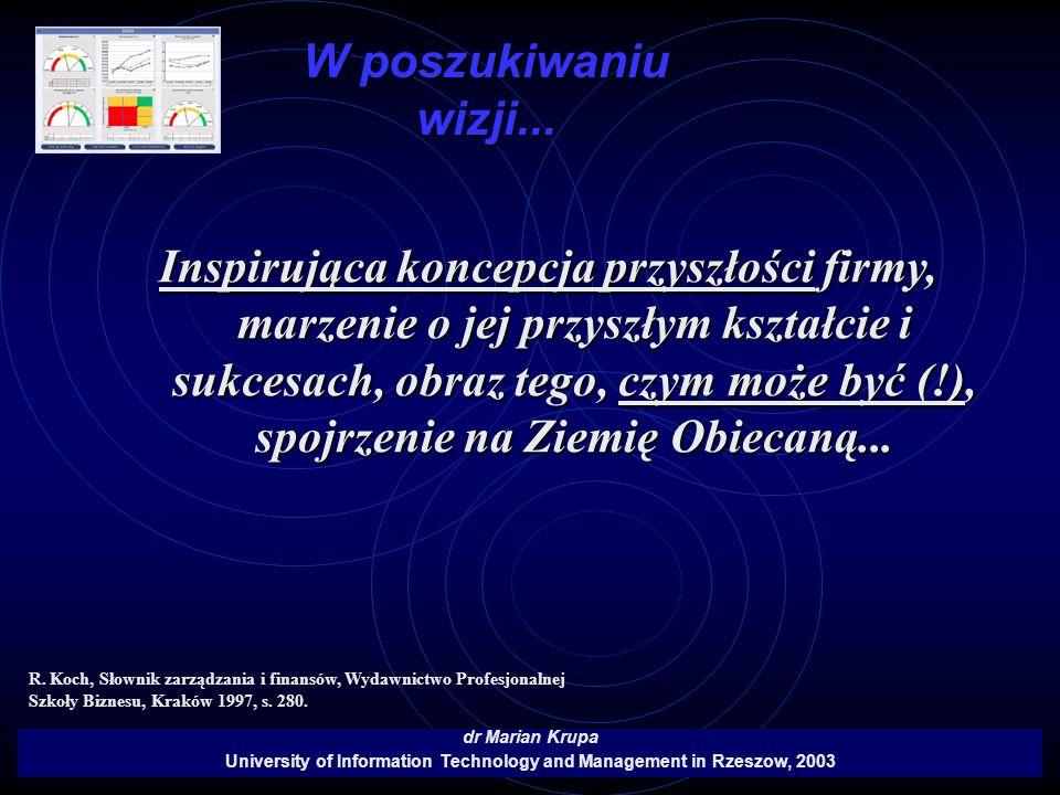 W poszukiwaniu wizji... dr Marian Krupa University of Information Technology and Management in Rzeszow, 2003 Inspirująca koncepcja przyszłości firmy,