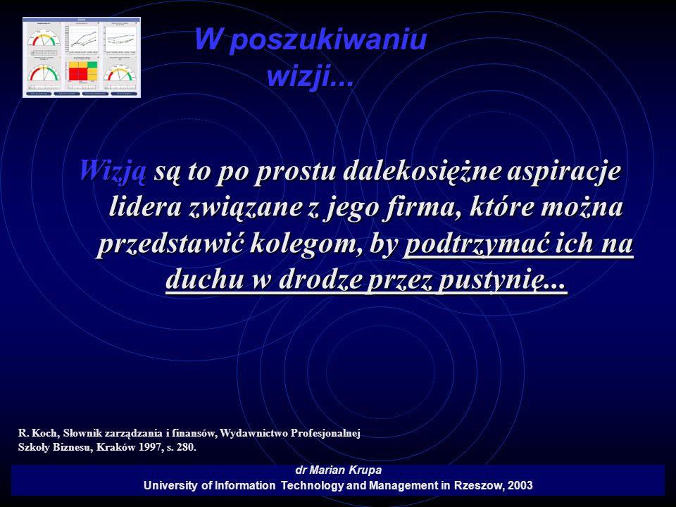 W poszukiwaniu wizji... dr Marian Krupa University of Information Technology and Management in Rzeszow, 2003 Wizją są to po prostu dalekosiężne aspira