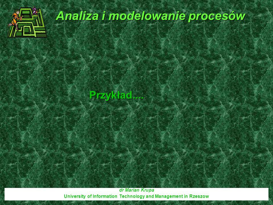 dr Marian Krupa University of Information Technology and Management in Rzeszow Przykład.... Analiza i modelowanie procesów