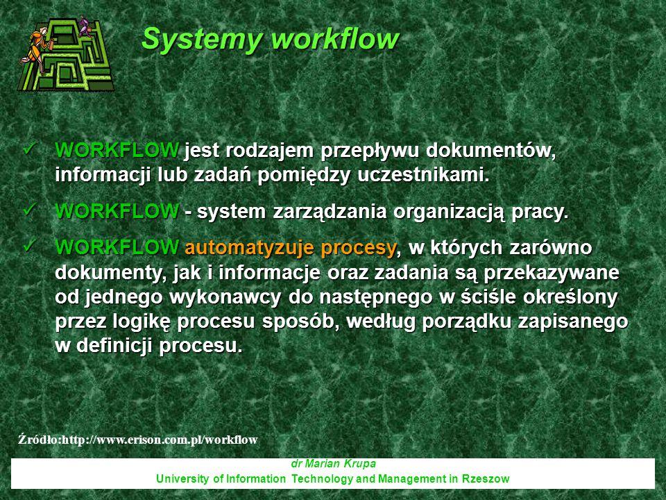 dr Marian Krupa University of Information Technology and Management in Rzeszow WORKFLOW jest rodzajem przepływu dokumentów, informacji lub zadań pomię